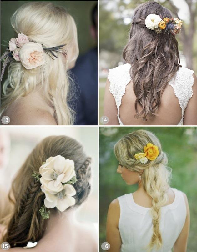Brudehår flette blomster