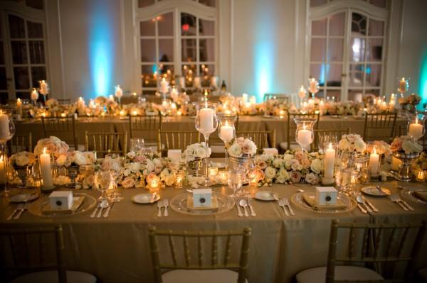 gull bryllup borddekorasjon
