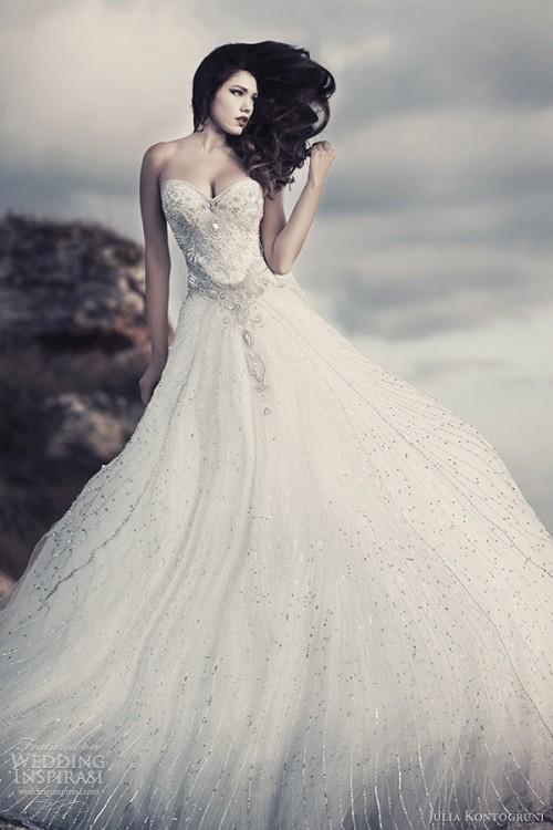 brudekjole med glitter