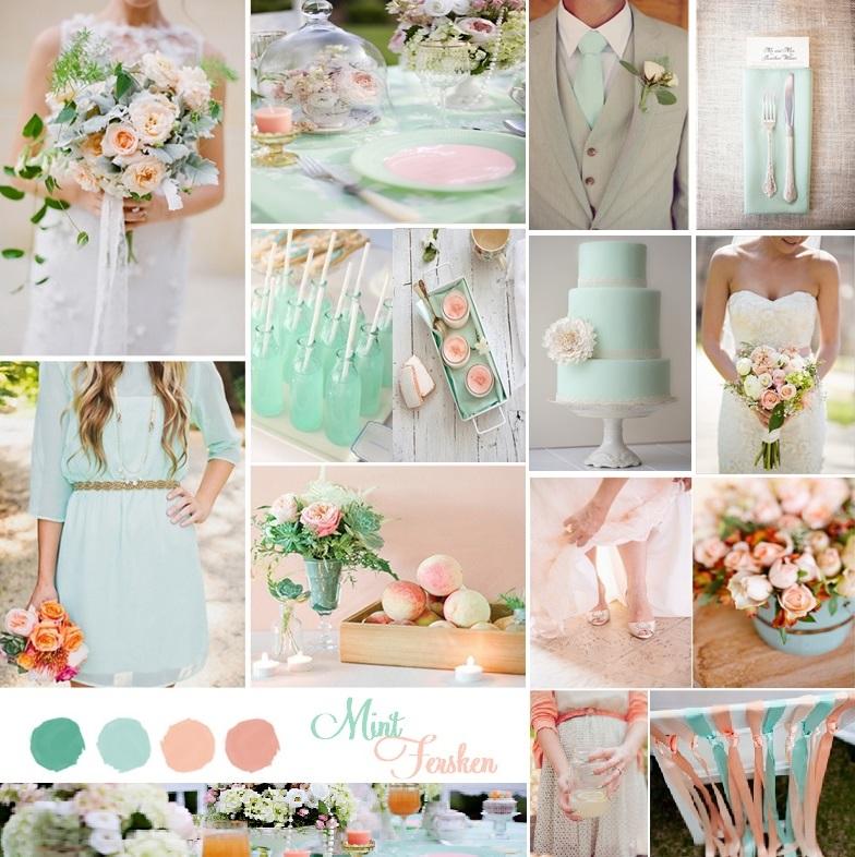 Fersken Mint tema bryllup